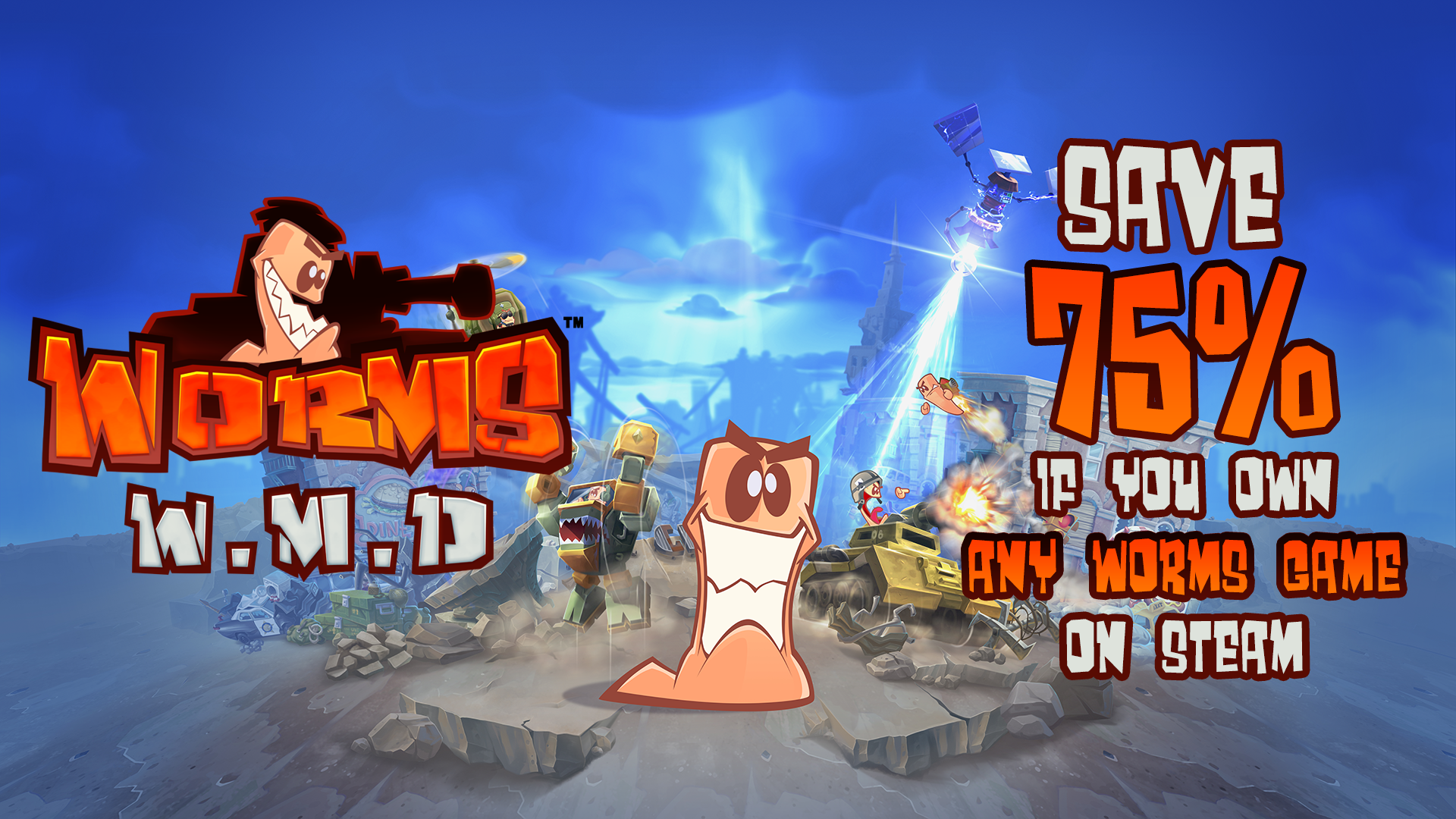 Existing Worms players can now save 75% on Worms W.M.D