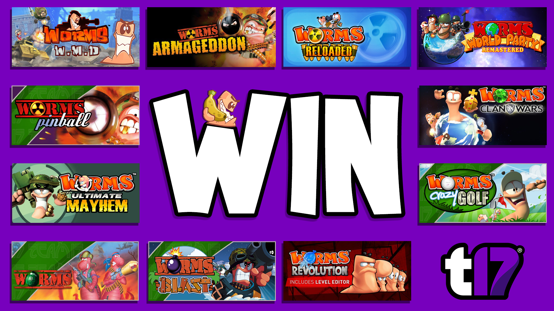 Win every Worms game on Steam + Worms merchandise!