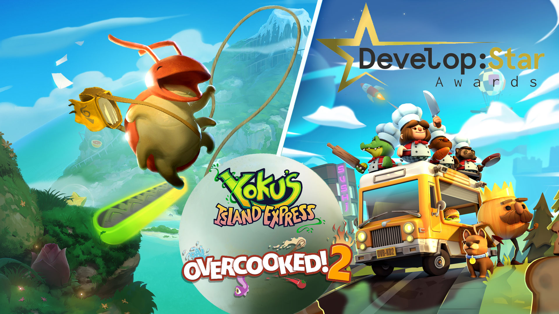 Overcooked! 2 & Yoku's Island Express nominated for Develop:Star Awards!